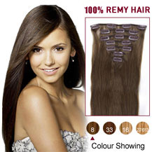 24 inches Ash Brown (#8) 7pcs Clip In Indian Remy Hair Extensions