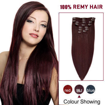 30 inches 99J 10PCS Straight Clip In Indian Remy Hair Extensions