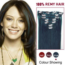 24 inches Blue 10PCS Straight Clip In Indian Remy Hair Extensions