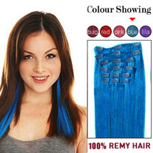 24 inches Blue 9PCS Straight Full Head Set Clip In Brazilian Remy Hair Extensions