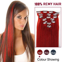 24 inches Red 7pcs Clip In Brazilian Remy Hair Extensions