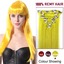 16 inches Yellow 9PCS Straight Clip In Indian Remy Hair Extensions