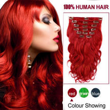 24 inches Red 7pcs Wave Full Head Set Clip In Indian Remy Hair Extensions