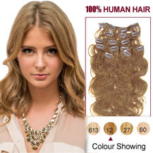 16 inches Golden Brown (#12) 7pcs Wavy Clip In Indian Remy Hair Extensions