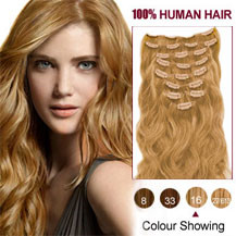 24 inches Golden Blonde (#16) 7pcs Wavy Clip In Indian Remy Hair Extensions