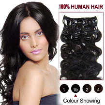 "16"" Natural Black (#1b) 7pcs Wavy Clip In Indian Remy Hair Extensions"