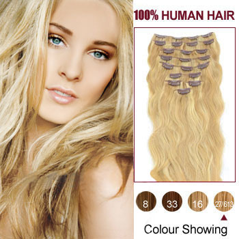 16 inches Blonde Highlight (#27/613) 9PCS Wavy Clip In Indian Remy Hair Extensions