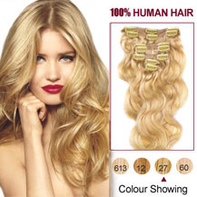 24 inches Strawberry Blonde (#27) 7pcs Wavy Clip In Indian Remy Hair Extensions
