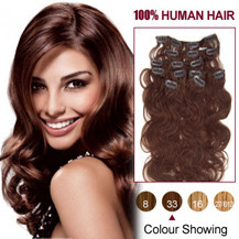 20 inches Dark Auburn (#33) 7pcs Wavy Clip In Indian Remy Hair Extensions