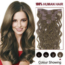 "18"" Light Brown (#6) 10PCS Wavy Clip In Brazilian Remy Hair Extensions"