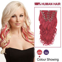 24 inches Pink 7pcs Clip In Indian Remy Hair Extensions