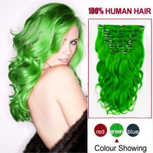 16 inches Green 7pcs Clip In Indian Remy Hair Extensions