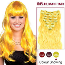 16 inches Yellow 9PCS Wavy Clip In Indian Remy Hair Extensions