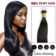 "24"" #1 Jet Black 100s Flex Tip Nano Ring Human Hair Extensions"