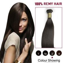 "24"" #2 Dark Brown 100s Flex Tip Nano Ring Human Hair Extensions"