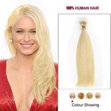 """26"""" #613 Bleach Blonde 100s Flex Tip Nano Ring Human Hair Extensions"""