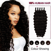 "20"" Natural Black (#1b) 50S Curly Stick Tip Human Hair Extensions"