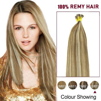 20 inches #12/613 Golden Brown Blonde Stick Tip Human Hair Extensions