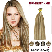 "24"" #12/613 Golden Brown Blonde Stick Tip Human Hair Extensions"
