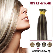 """22"""" #4/613 Brown Blonde 50S Stick Tip Human Hair Extensions"""