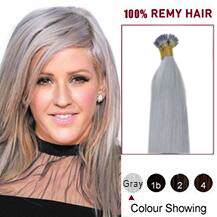 16 inches Grey 50S Stick Tip Human Hair Extensions Straight