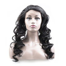 16 inches 360 Natural Black Loose Wave Full lace Human closure wig