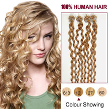 "16"" Golden Brown (#12) 100S Curly Micro Loop Human Hair Extensions"