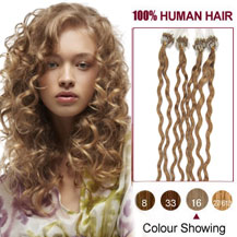 16 inches Golden Blonde (#16) 50S Curly Micro Loop Human Hair Extensions