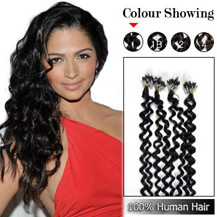 "16"" Jet Black (#1) 100S Curly Micro Loop Human Hair Extensions"