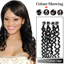 "20"" Natural Black (#1b) 100S Curly Micro Loop Human Hair Extensions"