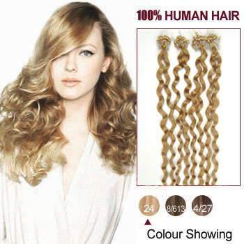 18 inches Ash Blonde (#24) 100S Curly Micro Loop Human Hair Extensions