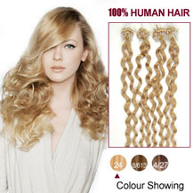 20 inches Ash Blonde (#24) 100S Curly Micro Loop Human Hair Extensions