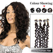 24 inches Dark Brown (#2) 100S Curly Micro Loop Human Hair Extensions
