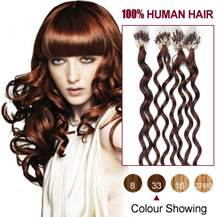 20 inches Dark Auburn (#33) 100S Curly Micro Loop Human Hair Extensions