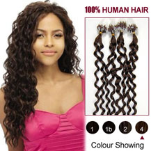 24 inches Medium Brown (#4) 100S Curly Micro Loop Human Hair Extensions