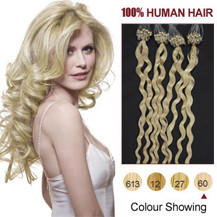 16 inches White Blonde (#60) 50S Curly Micro Loop Human Hair Extensions