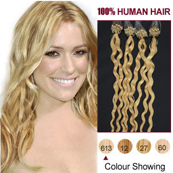 24 inches Bleach Blonde (#613) 100S Curly Micro Loop Human Hair Extensions