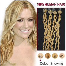 "24"" Bleach Blonde (#613) 100S Curly Micro Loop Human Hair Extensions"