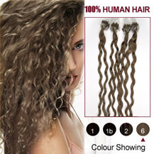 16 inches Light Brown (#6) 100S Curly Micro Loop Human Hair Extensions