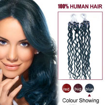 16 inches Blue 100S Curly Micro Loop Human Hair Extensions