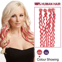 16 inches Pink 100S Curly Micro Loop Human Hair Extensions