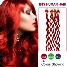"18"" Red 100S Curly Micro Loop Human Hair Extensions"