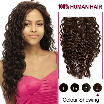 16 inches Medium Brown (#4) 7pcs Curly Clip In Brazilian Remy Hair Extensions
