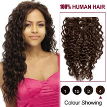 16 inches Medium Brown (#4) 7pcs Curly Clip In Indian Remy Hair Extensions
