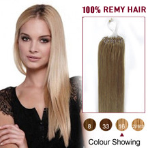 22 inches Golden Blonde (#16) 100S Micro Loop Human Hair Extensions