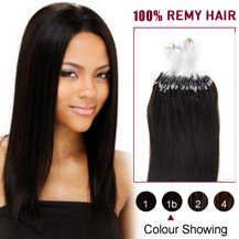 "22"" Natural Black (#1b) 100S Micro Loop Human Hair Extensions"