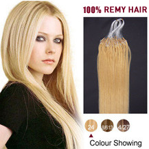"16"" Ash Blonde (#24) 100S Micro Loop Human Hair Extensions"