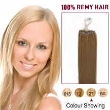 16 inches Strawberry Blonde (#27) 100S Micro Loop Human Hair Extensions
