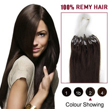 "20"" Dark Brown (#2) 100S Micro Loop Human Hair Extensions"