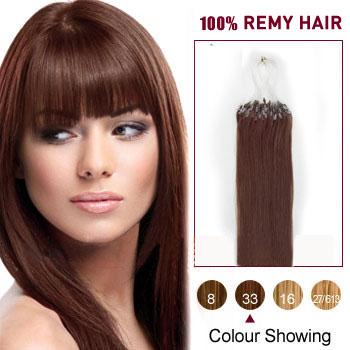 16 inches Dark Auburn (#33) 100S Micro Loop Human Hair Extensions
